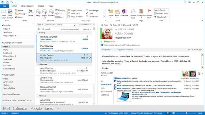 Náhled programu Outlook. Více informací o Office 365.